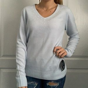 Womens light blue sweater with scarf